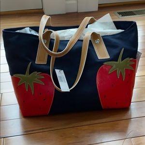 Navy tote bag.
